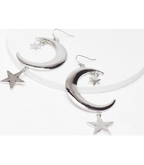 womens as star as we know moon drop earrings - silver