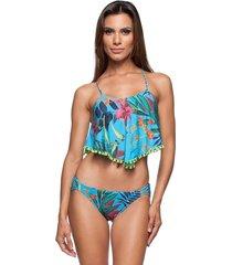 biquini cropped strappy tiras la playa flamboyant azul