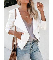 bolsillos laterales blancos chaqueta de manga larga con cuello de solapa
