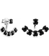 aretes cortos mini onix de plata con seis osos de ónix