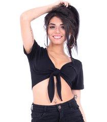 blusa up side wear amarrada na frente preta