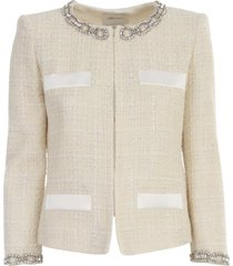 blumarine boucle jacket crew neck w/chain strass
