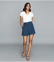reiss lana - belted shorts in blue, womens, size 10