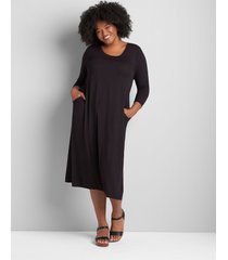 lane bryant women's 3/4-sleeve side-tie midi dress 22/24 black