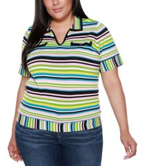 belldini black label plus size striped, collared short sleeve sweater