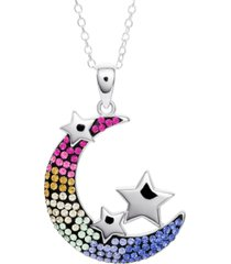 """giani bernini crystal moon & stars 18"""" pendant necklace in sterling silver, created for macy's"""