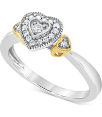 diamond two-tone heart promise ring (1/8 ct. t.w.) in 10k gold & white gold