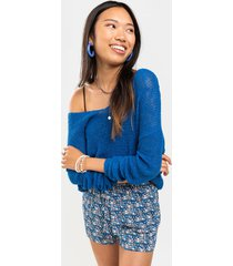 women's irina relaxed knot back sweater in blue by francesca's - size: l