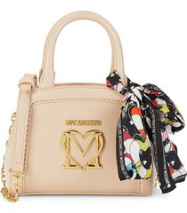 love moschino women's scarf logo crossbody bag - beige