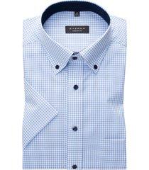 eterna overhemd comfort fit lichtblauw ruitje