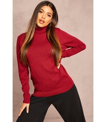 recycled roll neck sweater, berry