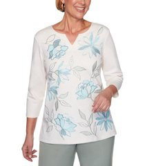 alfred dunner chesapeake bay embroidered split-neck knit top