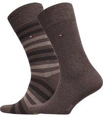 th men duo stripe sock 2p underwear socks regular socks brun tommy hilfiger