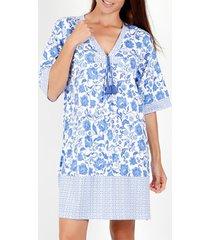 korte jurk admas etienne blauw korte mouwen zomerjurk