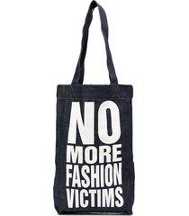katharine hamnett london no more fashion victims tote bag - blue