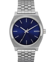 nixon the time teller bracelet watch, 37mm in silver/blue sunray at nordstrom