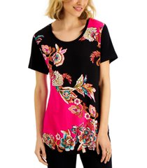 jm collection petite printed top, created for macy's