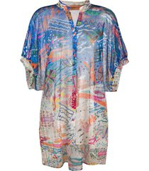 missoni mare beach-print beach shirt - blue