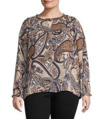 bobeau women's plus paisley blouse - taupe paisley - size 3x (22-24)