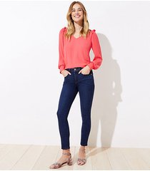 loft curvy slim pocket skinny crop jeans in dark indigo