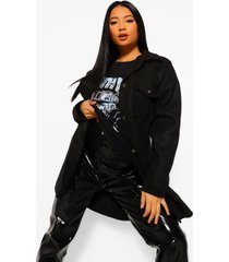 petite lange nepwollen trucker jas, black