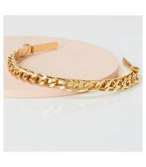 amaro feminino tiara corrente folheada metal, dourado