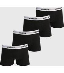 kit 4pçs cueca colcci boxer logo preto