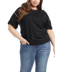 plus size women's karen kane roll sleeve french terry t-shirt, size 1x - black