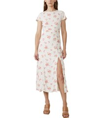 women's bardot floral sheath midi dress, size large - beige