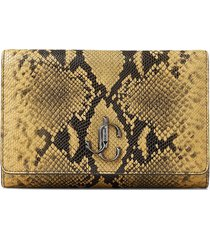 jimmy choo varenne logo-emblem clutch bag - yellow
