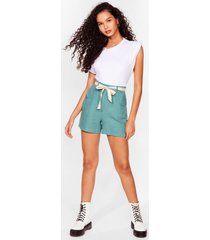 womens linen to my heart belted shorts - sage