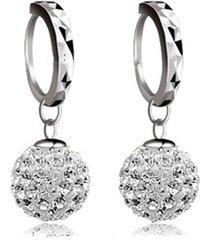 orecchini a cionolo con placcato d'argento a forma di pallino