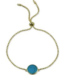 argento vivo reconstituted turquoise bolo bracelet in 18k gold-plated sterling silver