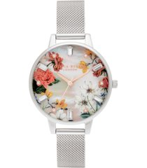 olivia burton women's sparkle floral stainless steel mesh bracelet watch 34mm