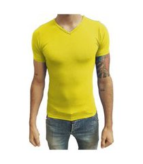 camiseta gola v vies manga curta amarelo