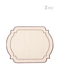 kit de jogo americano com bordado 02 peças - bege