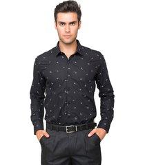 camisa manga longa tony menswear origami slim preto