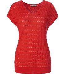 mouwloze trui in ajourbreisel van uta raasch rood