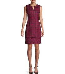 sleeveless tweed sheath dress
