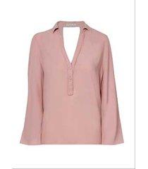 blusa dudalina manga longa decote transpassado costas feminina (rosa claro, 44)