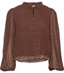 pleated georgette blouse lange mouwen bruin ganni
