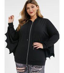 plus size zip front batwing sleeve hoodie