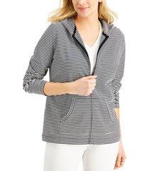 karen scott zip-front striped hoodie, created for macy's