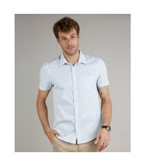 camisa masculina comfort fit estampada xadrez com bolso manga curta azul