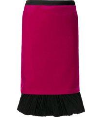karl lagerfeld x carine roitfeld velvet skirt - pink