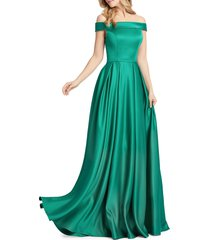 mac duggal women's off-the-shoulder mikado pleated gown - blush - size 4