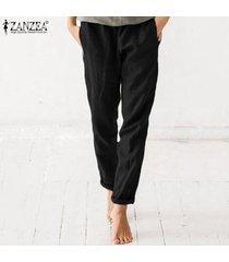 zanzea mujeres ocasionales de los pantalones más tamaño suelta cintura elástico harem pantalones para mujeres harlan -negro