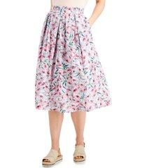 tommy hilfiger floral-print cotton midi skirt