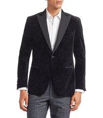 saks fifth avenue collection floral print velvet dinner jacket - midnight - size 40 r
