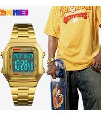 reloj de correa de acero cuadrado para caballero-dorado